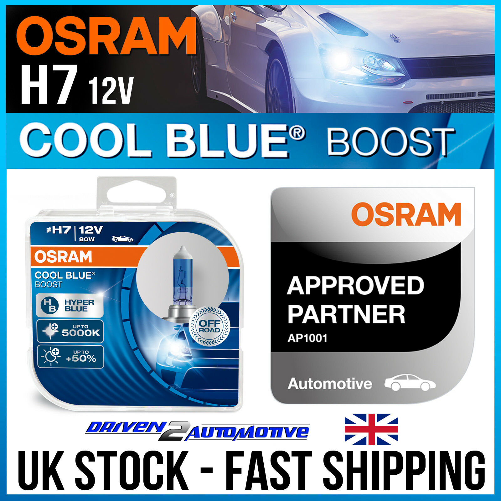 2x osram h7 cool blue boost 12v 80w xenon hid look bulbs. Black Bedroom Furniture Sets. Home Design Ideas