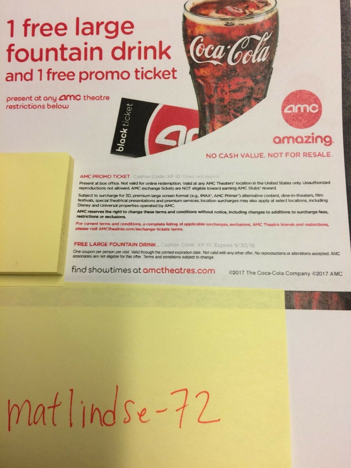 2 AMC MOVIE E THEATER TICKETS And Fountain Drinks 1 Of 1FREE Shipping See More