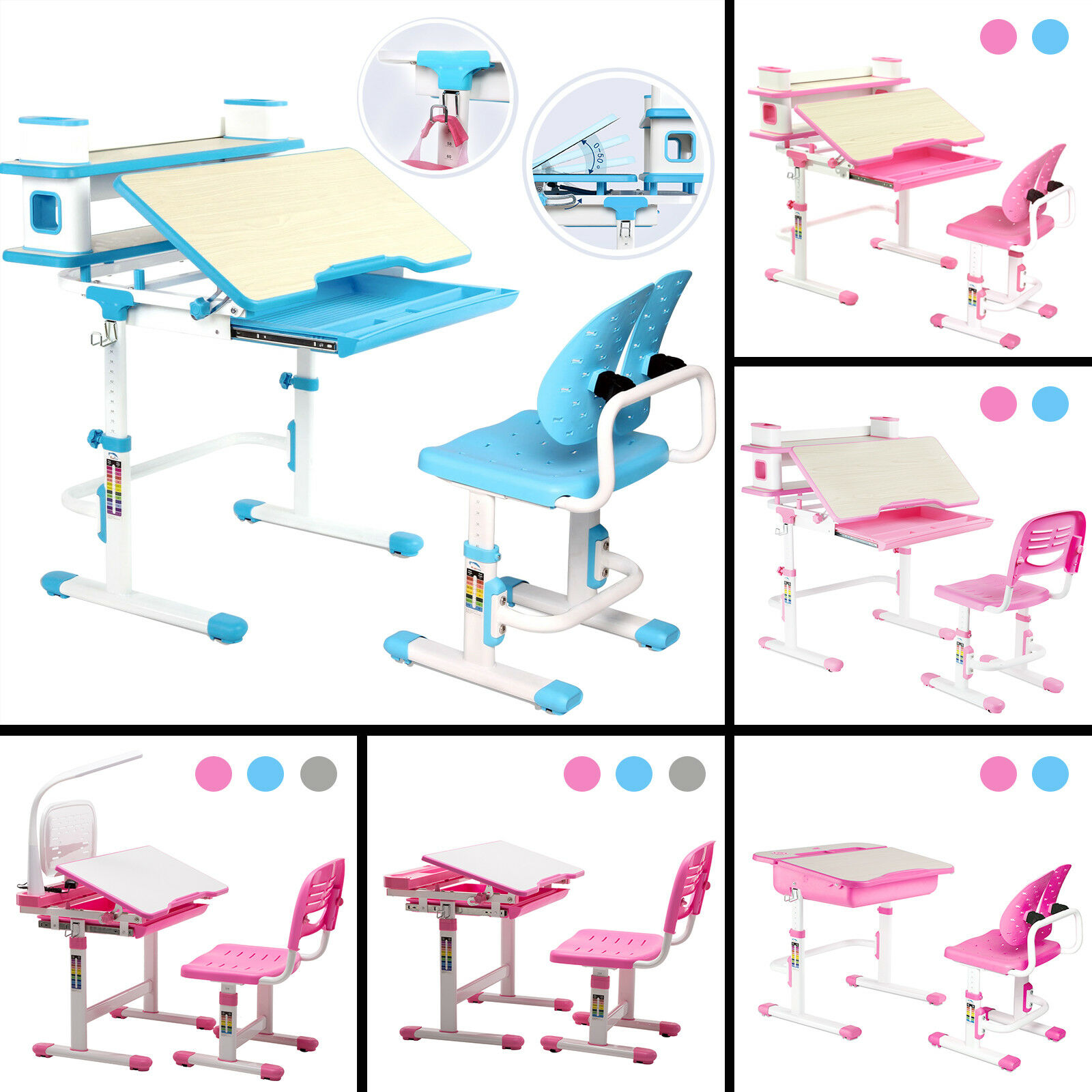 Adjule Children S Desk And Chair Set Kids Study Table Lamp 3 Colors 1 Of 12free Shipping See More