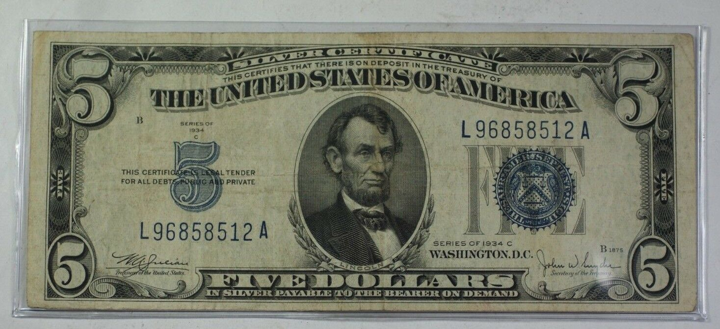 Series Of 1934 5 Five Dollar Silver Certificate Note Vg F Old Us