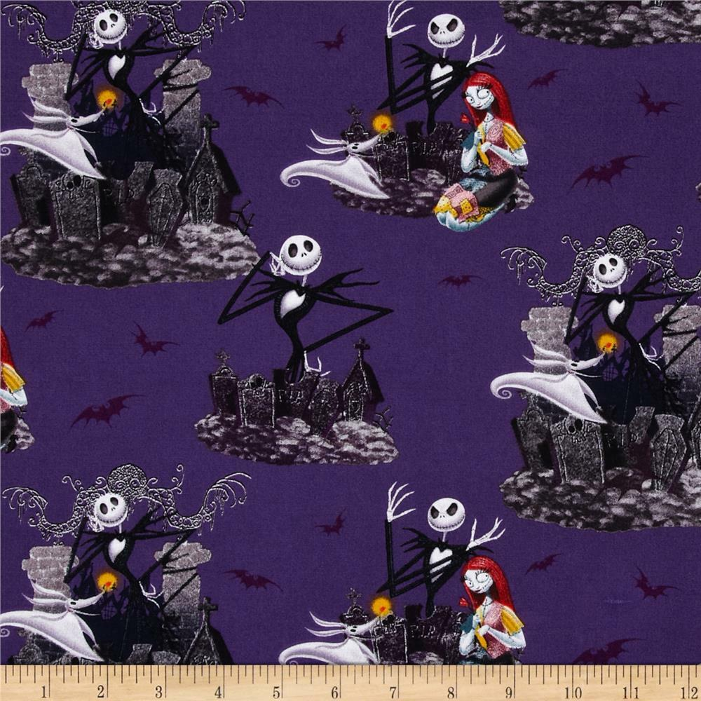 NIGHTMARE BEFORE CHRISTMAS Scenic Print 100% Cotton Fabric By The 1 ...