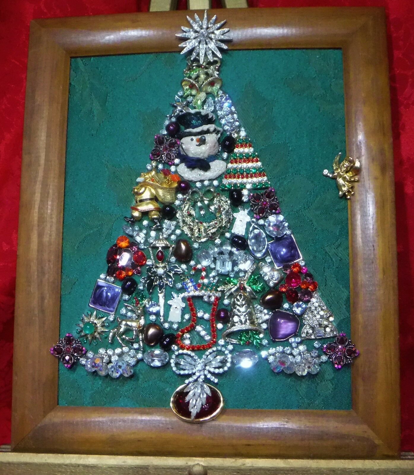 VINTAGE JEWELRY CHRISTMAS Tree, framed and signed - $65.99 | PicClick