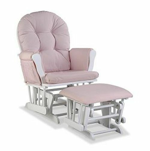 Baby Rocker Glider Nursery Rocking Chair And Nursing Ottoman Stool Pink White 1 Of 3free Shipping