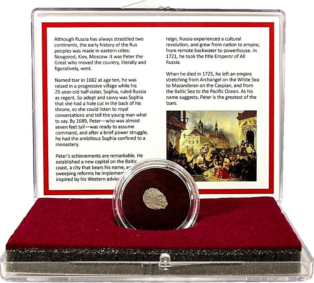 Russian Silver Wire Money Of Peter The Great Kopek Coin In Clear Box Story 1 6free Shipping