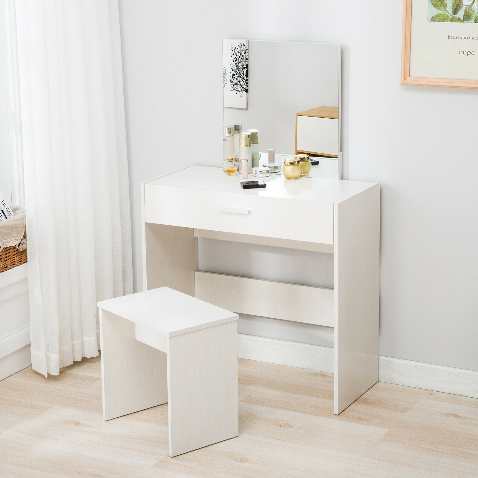 Vanity White Dressing Table Stool Set Makeup Dresser Desk With Mirror Drawer 1 Of 10free Shipping