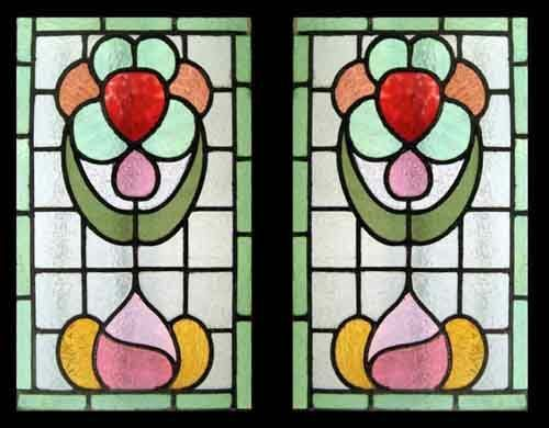 Art Nouveau Flowers Antique English Stained Glass Windows