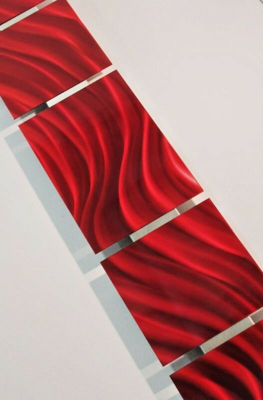 Red metal wall art sculpture panel set modern abstract for Home decor 96