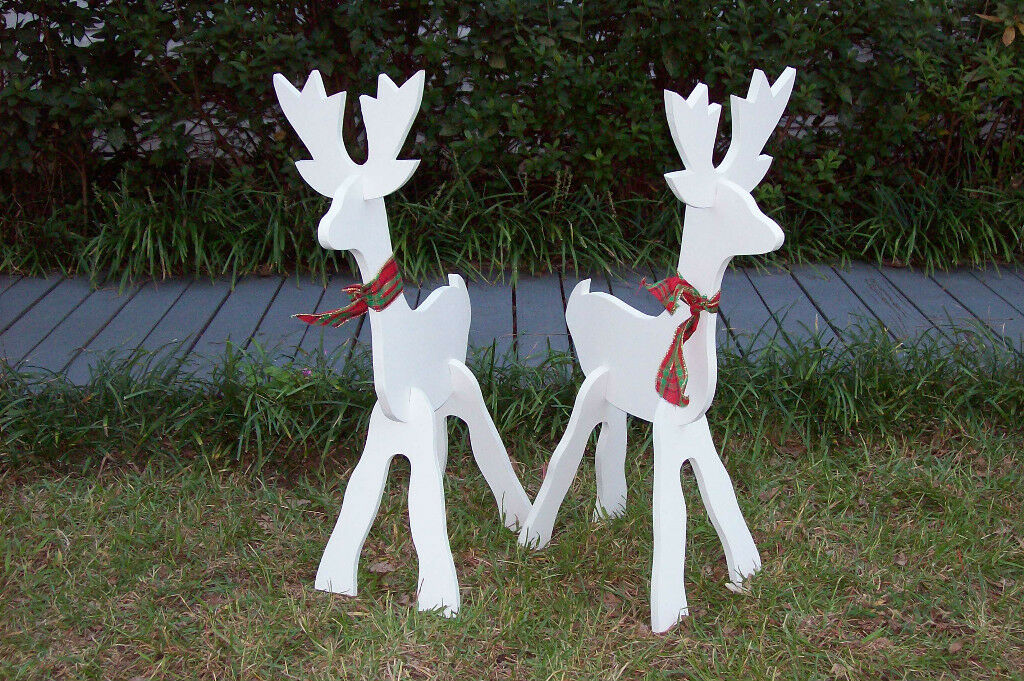 Small white deer set christmas yard art decoration for 95 decoration