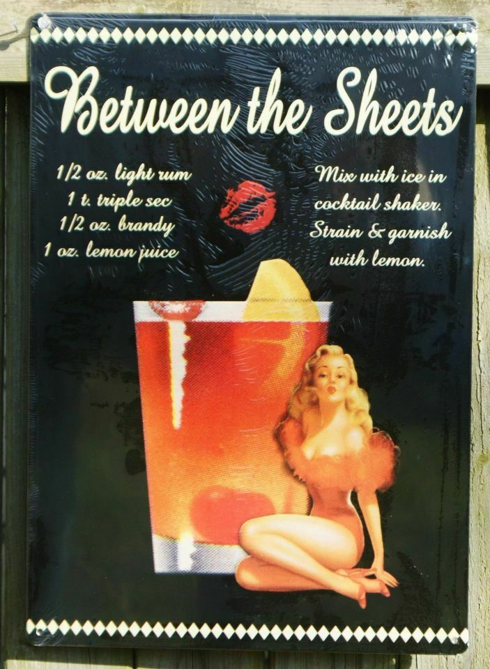 between the sheets mix drink tin sign bar garage pin up. Black Bedroom Furniture Sets. Home Design Ideas