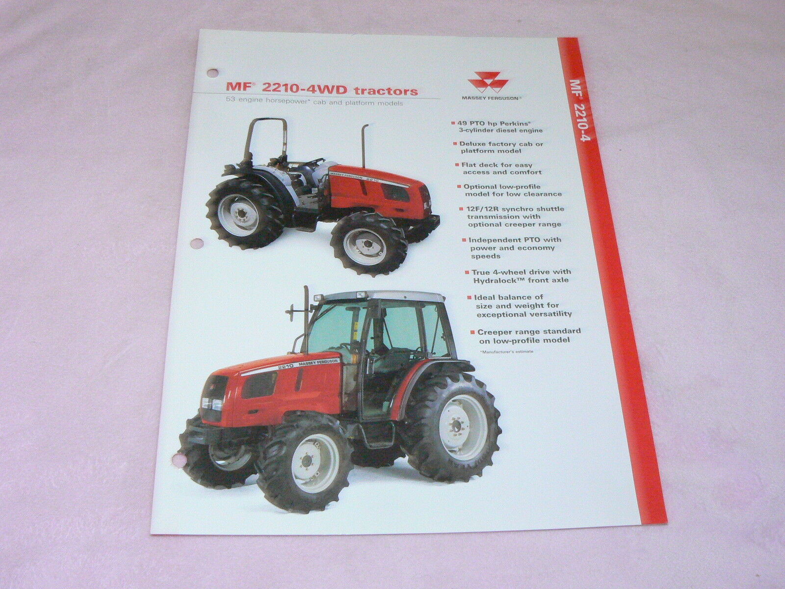 Massey Ferguson 2210 4WD Tractor Dealer's Brochure 1 of 1Only 1 available  ...