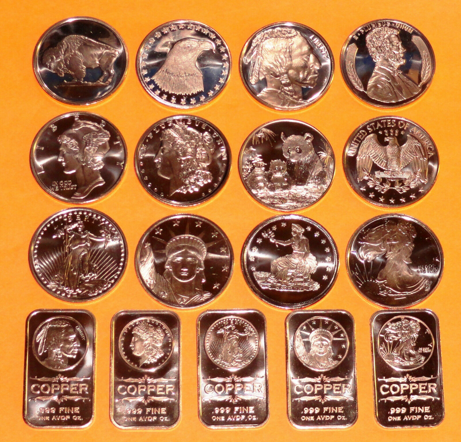 ♦♦ 2012 ♦♦ 12 NEW COINS & 5 NEW BARS ♦♦ 1 oz each ♦♦ .999 Copper Bullion ♦♦