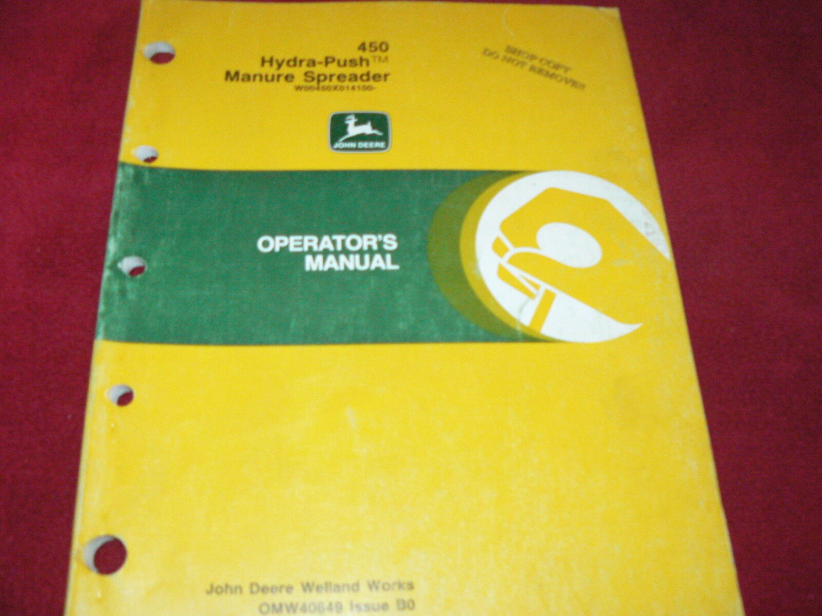 John Deere 450 Hydra Push Manure Spreader Operator's Manual 1 of 1Only 1  available ...