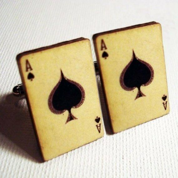 Ace of spades vintage style playing card silver cufflinks poker