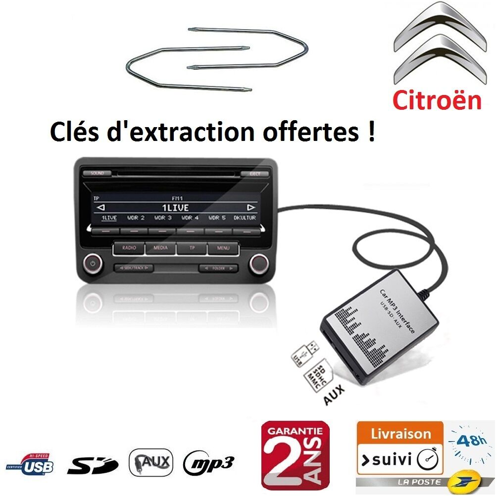 adaptateur usb sd aux mp3 autoradio citroen c2 c3 c4 c5 c6 c8 ds3 ds4 et picasso eur 55 00. Black Bedroom Furniture Sets. Home Design Ideas
