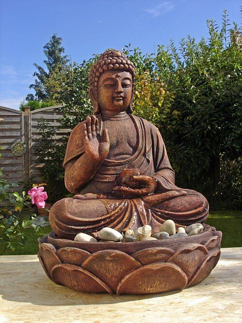 buddha brunnen zimmerbrunnen 50 cm ho mit led licht. Black Bedroom Furniture Sets. Home Design Ideas