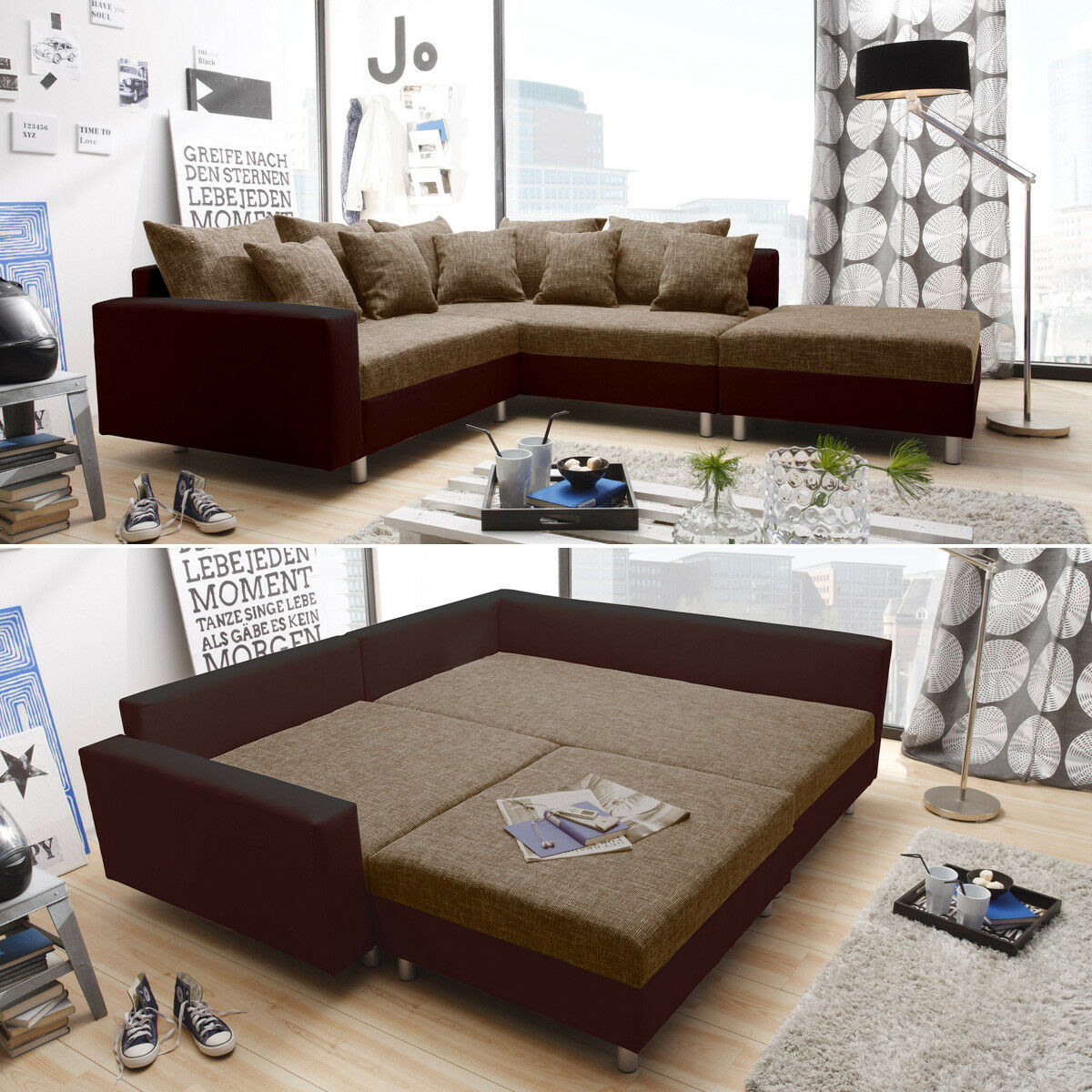 ecksofa claudia wohnlandschaft ottomane rechts sofa mit hocker braun eur 389 95 picclick de. Black Bedroom Furniture Sets. Home Design Ideas