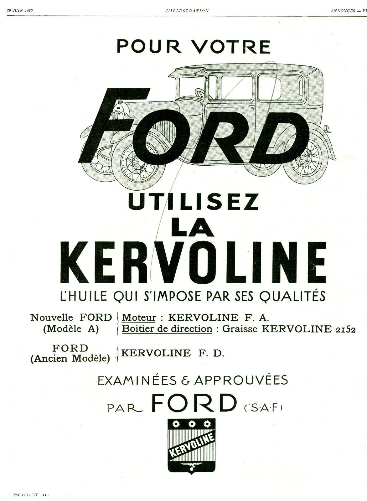 publicit ancienne voiture ford utilisez la kervoline 1929 issue de magazine eur 8 50. Black Bedroom Furniture Sets. Home Design Ideas