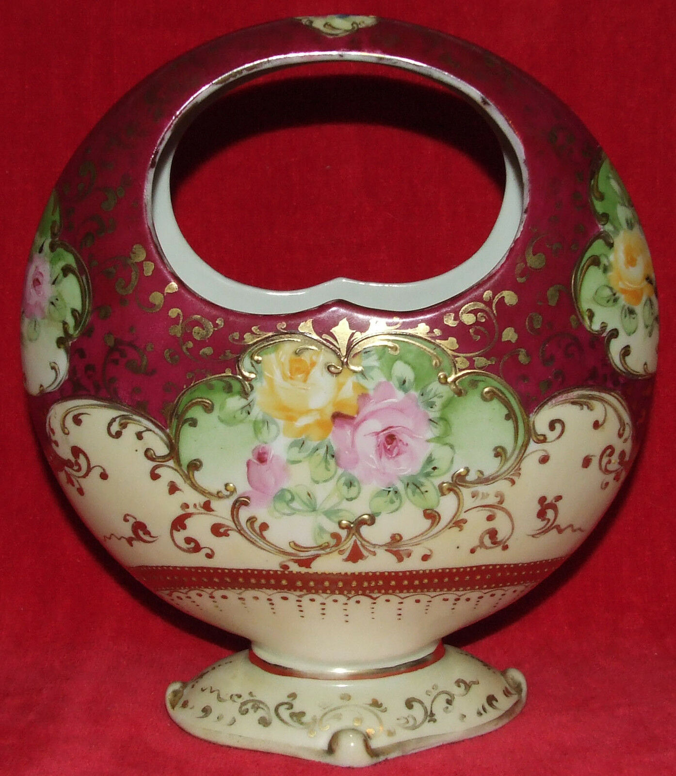 RARE ANTIQUE NIPPON MOON BASKET VASE HAND PAINTED MORIAGE ROSES & GOLD SCROLLS