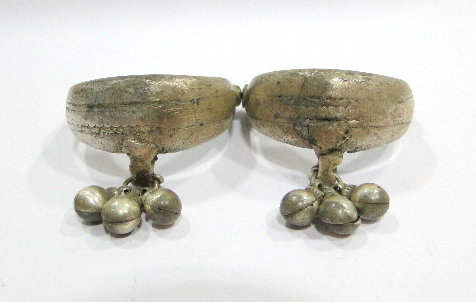 Vintage Antique Ethnic Tribal Old Silver Big Toe Ring Pair India