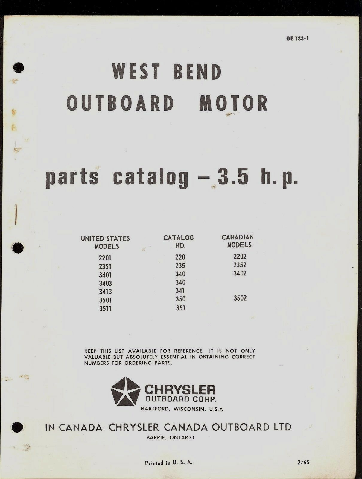 1965 West Bend / Chrysler 3.5Hp Outboar Motor Parts Manual / Ob733-1 1 of  1Only 1 available ...