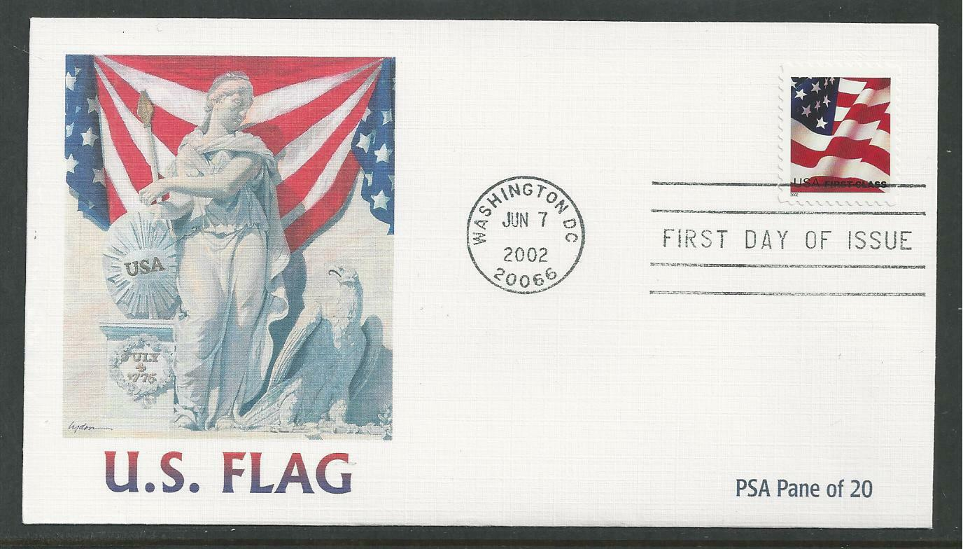 3621 NON DENOMINATED FIRST CLASS FLAG STAMP 2002 Fleetwood First Day Cover 1 Of 1Only Available See More