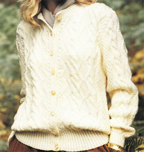 Lovely Ladies/Girls Aran Cardigan Knitting pattern- fits chest 28-40 inches  ...