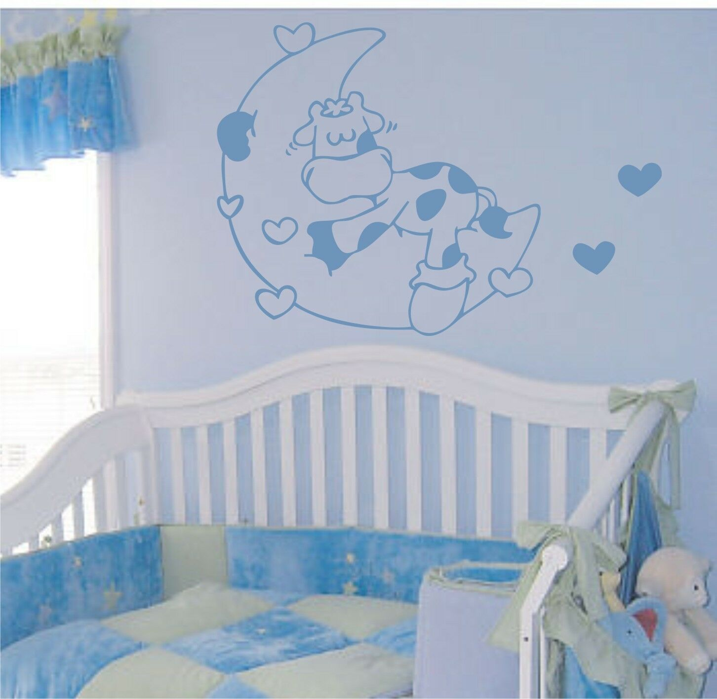 vinilo decorativo pared infantil vaca luna en stickers