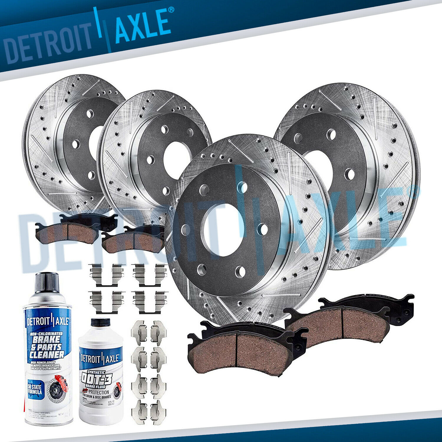 FRONT & REAR DRILLED Brake Rotor Ceramic Pad Chevy & GMC Sierra
