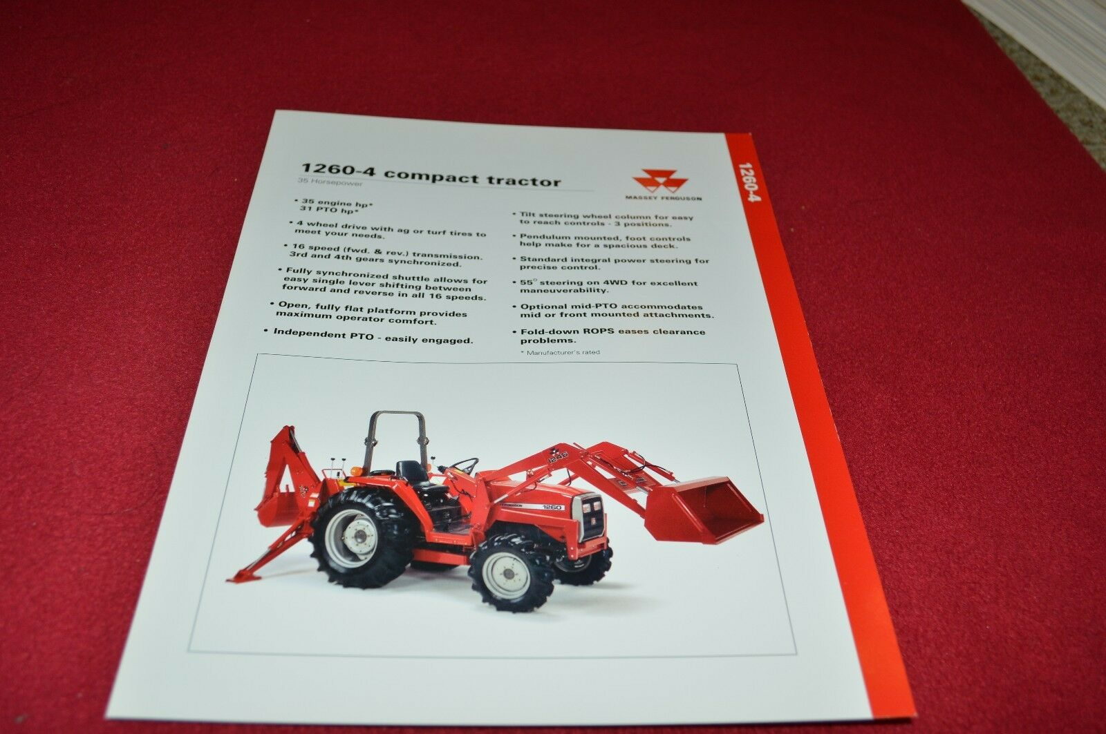 Massey Ferguson 1260 Tractor Dealers Brochure LCOH 1 of 1FREE Shipping ...