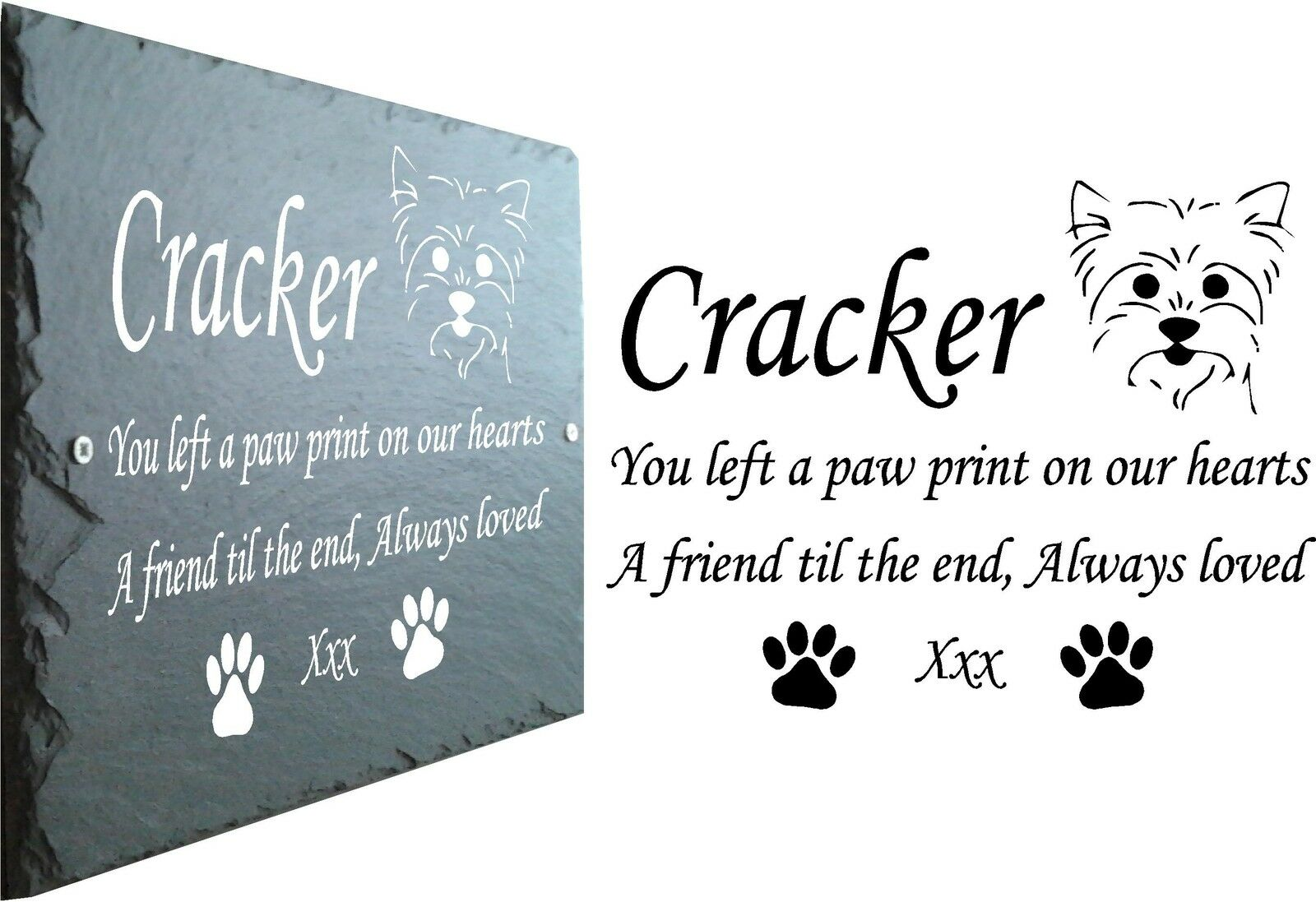 Yorkie Pet Memorial Slate Plaque, Personalised for you. Yorkshire Terrier