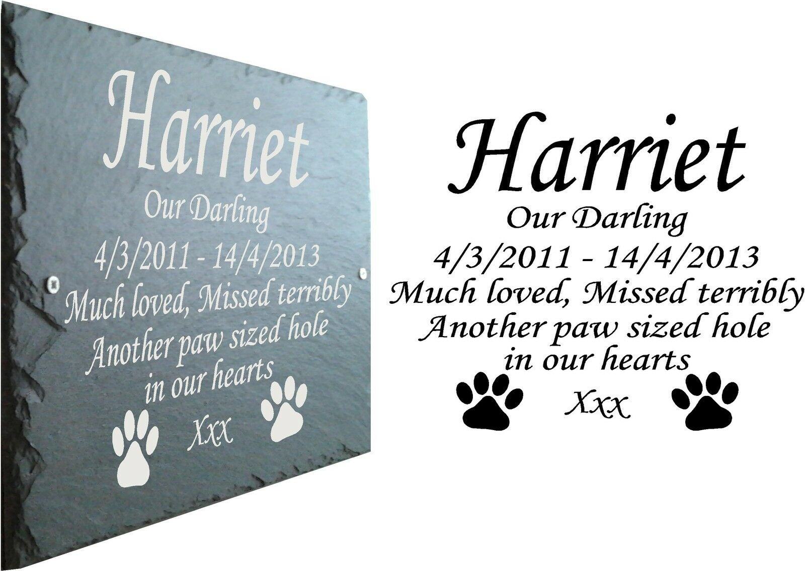 Pet Memorial Slate Plaque, Personalised for your requirements - Any Message