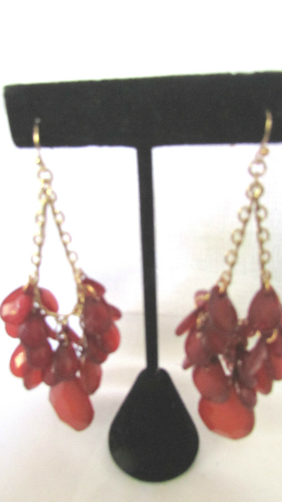 """Gold Tone Chandelier Red Stone French Wire Earrings 3 1/2""""  Nickel Free"""