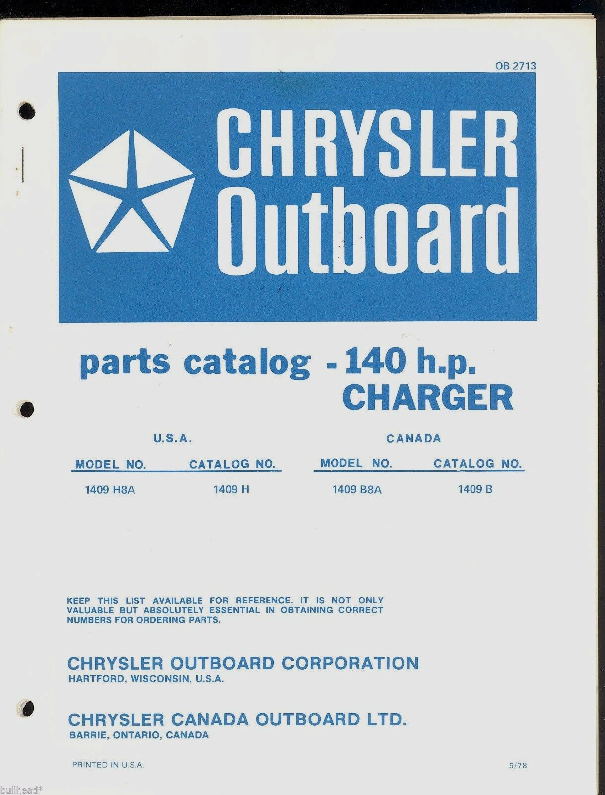 Chrysler 140Hp Charger Outboard Motor Parts Manual / Ob 2713 1 of 1Only 1  available ...
