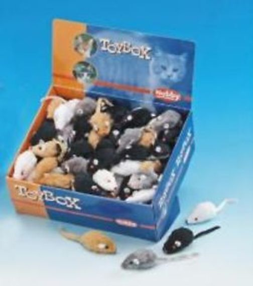 Cat Toys Small Fur Mice  x 12 Bulk Pack ENCOURAGES NATURAL PLAY - FAUX FUR