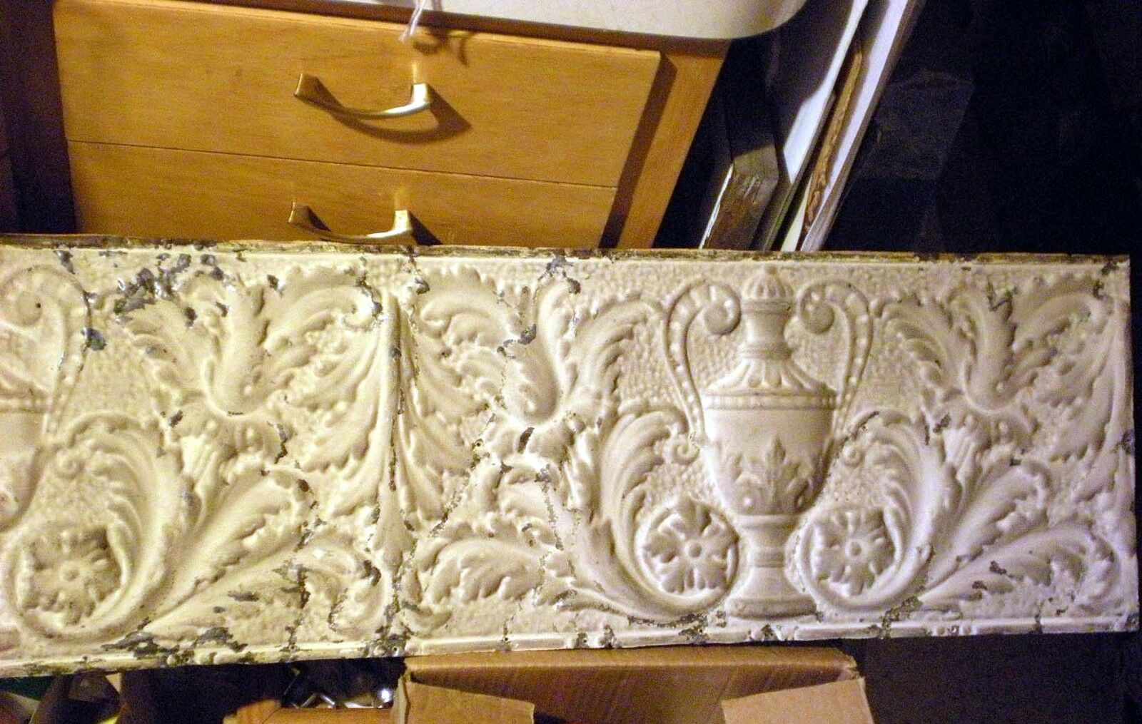 12x36 Antique Victorian Ceiling Tin Tile Acanthus Flowers Urn Leaves Shabby Chic