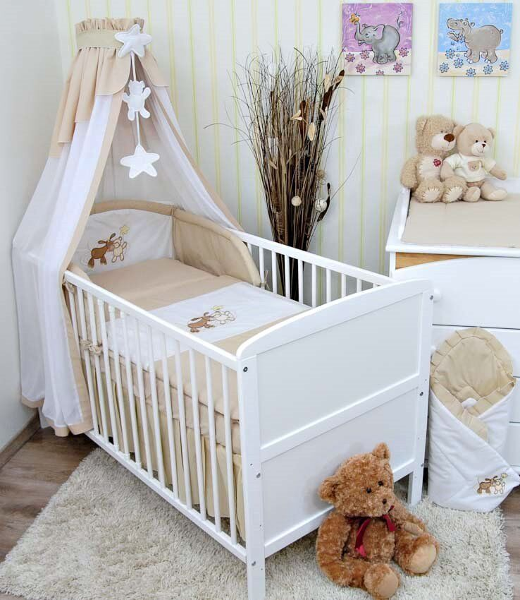 babybett kinderbett weiss 140x70 bettset stickerei neu eur 169 80 picclick de. Black Bedroom Furniture Sets. Home Design Ideas