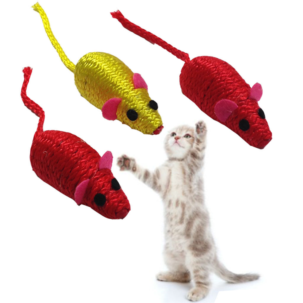 Cat Kitten Play Mouse Mice Set Of 3 Small Coloured Activity Pet Soft Balls Toys