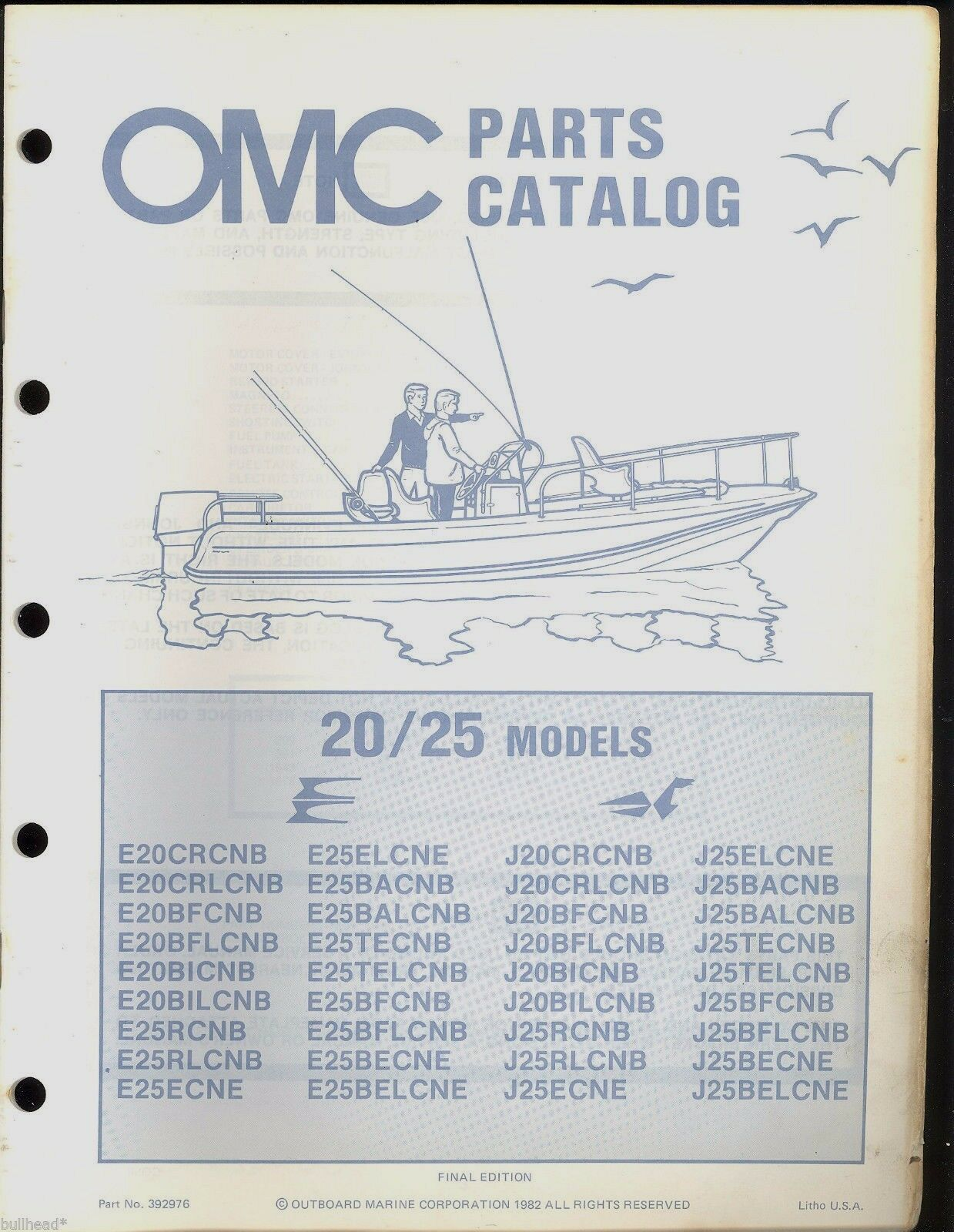 1982 Omc Evinrude / Johnson Parts Manual 20 / 25 Hp / 392976 1 of 2Only 2  available ...