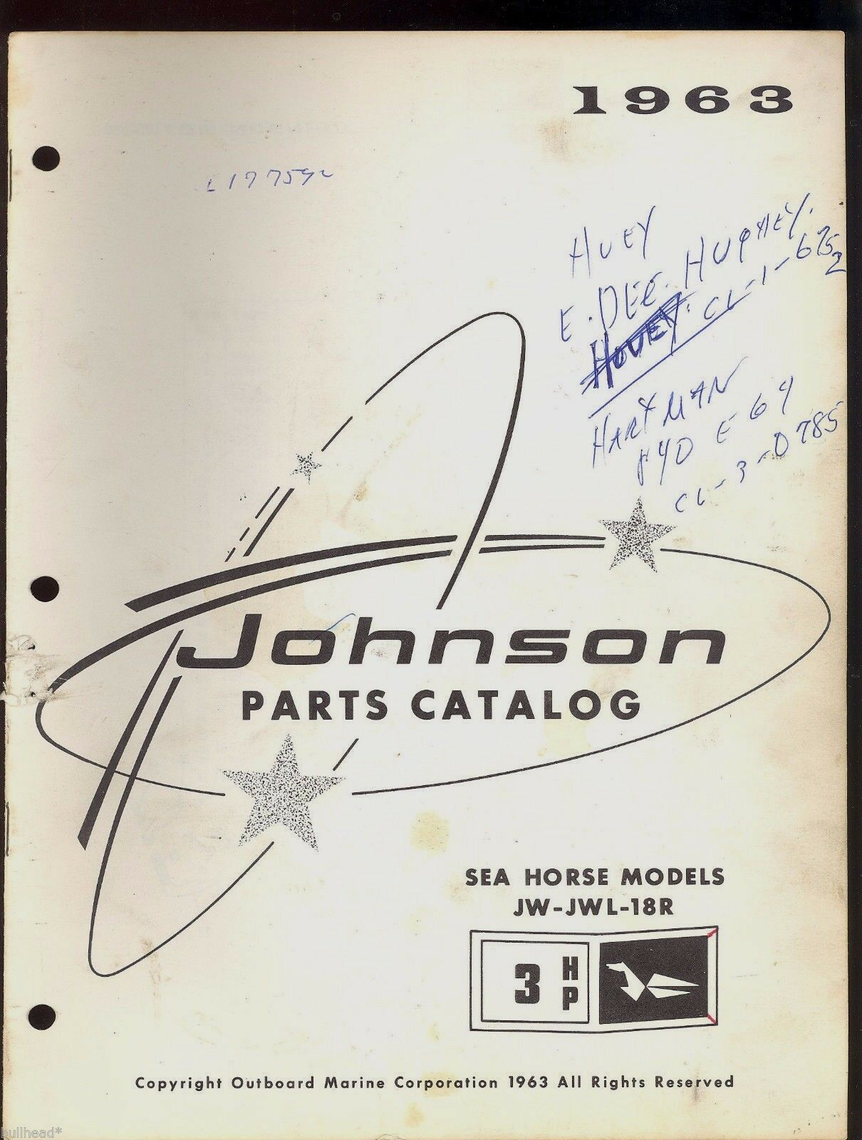 1963 Johnson 3Hp Jw-Jwl-18R Outboard Motor Parts Manual / 397267 1 of 1Only  1 available ...