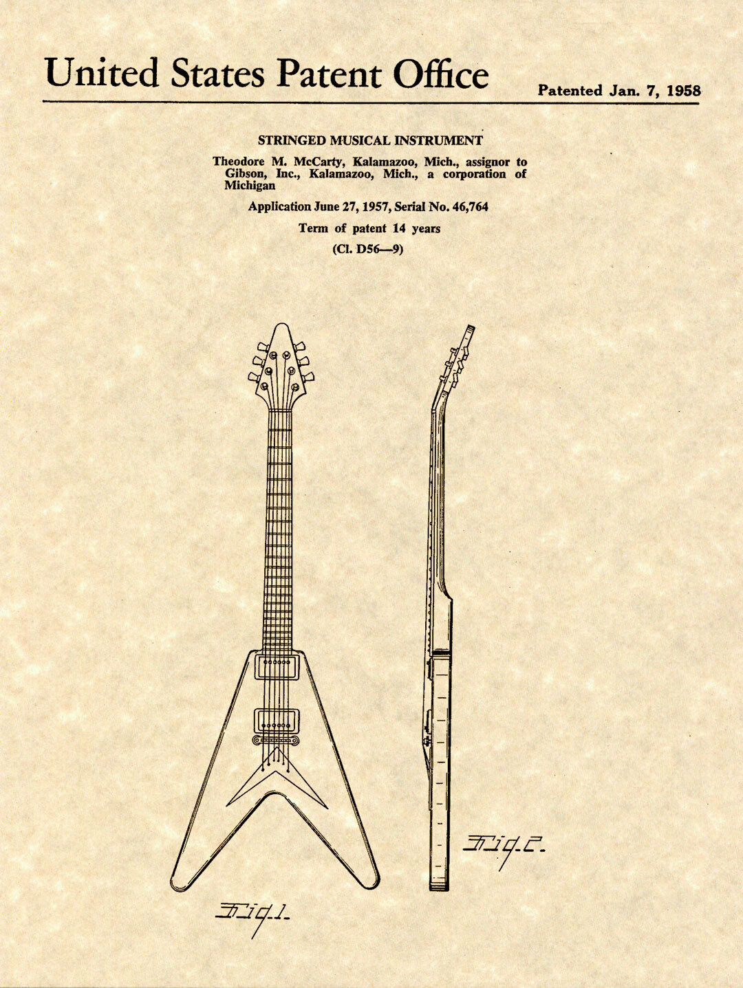 1958 Flying V Guitar Wiring Schematic Diagrams Gibson Les Paul Diagram Patent Art Print Ted Mccarty Ready To Explorer