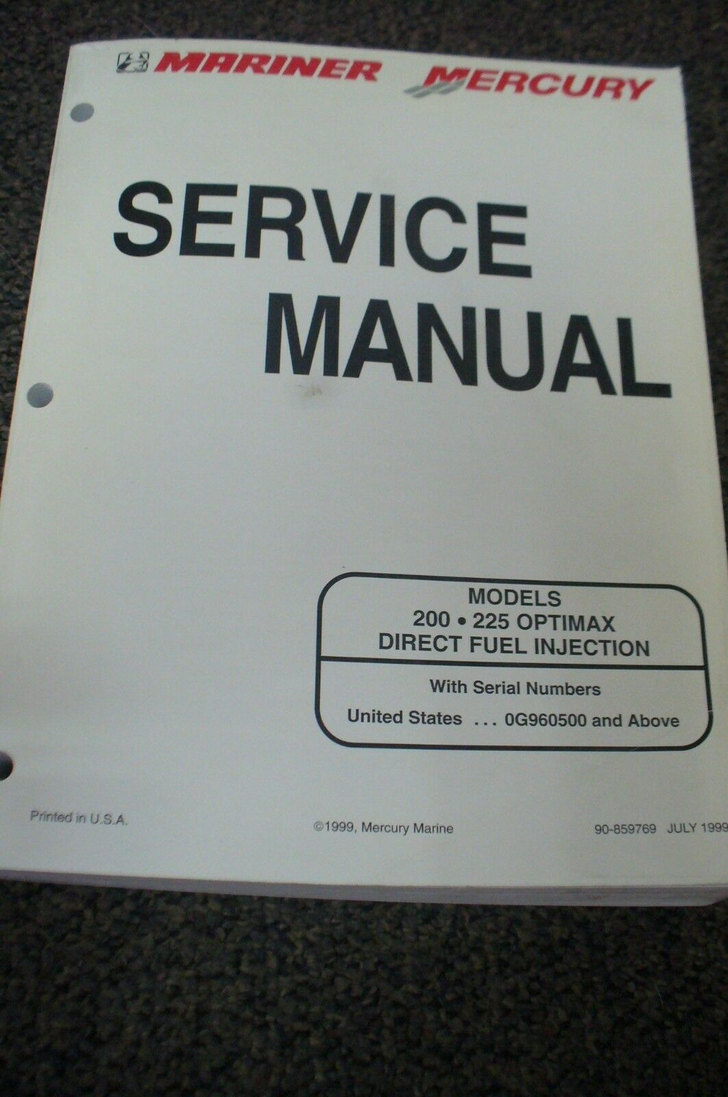 Mercury Mariner Outboard Service Manual 200 & 225 Optimax Dfi 90-859769 1  of 3Only 1 available ...