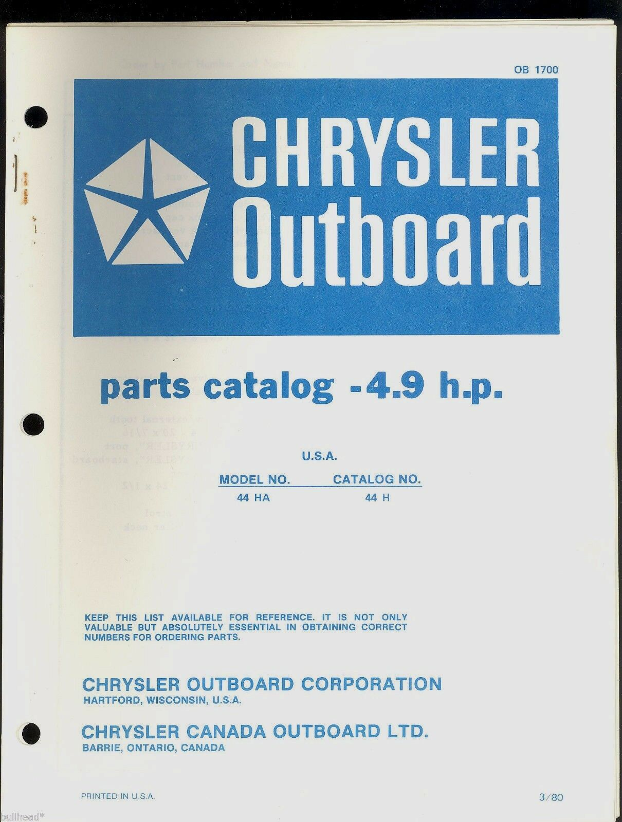 1980 Chrysler 49hp Outboard Motor Parts Manual Ob 1700 1499 Diagrams 1 Of 2only Available
