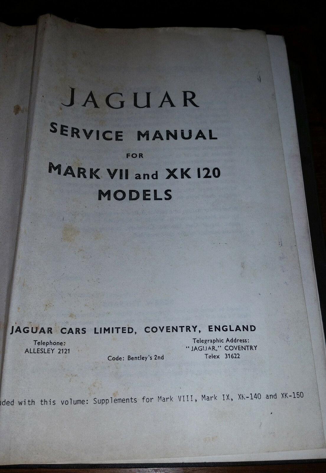 Original Jaguar Mark VII and XK 120 Models Service Manual 1 of 1Only 1  available See More