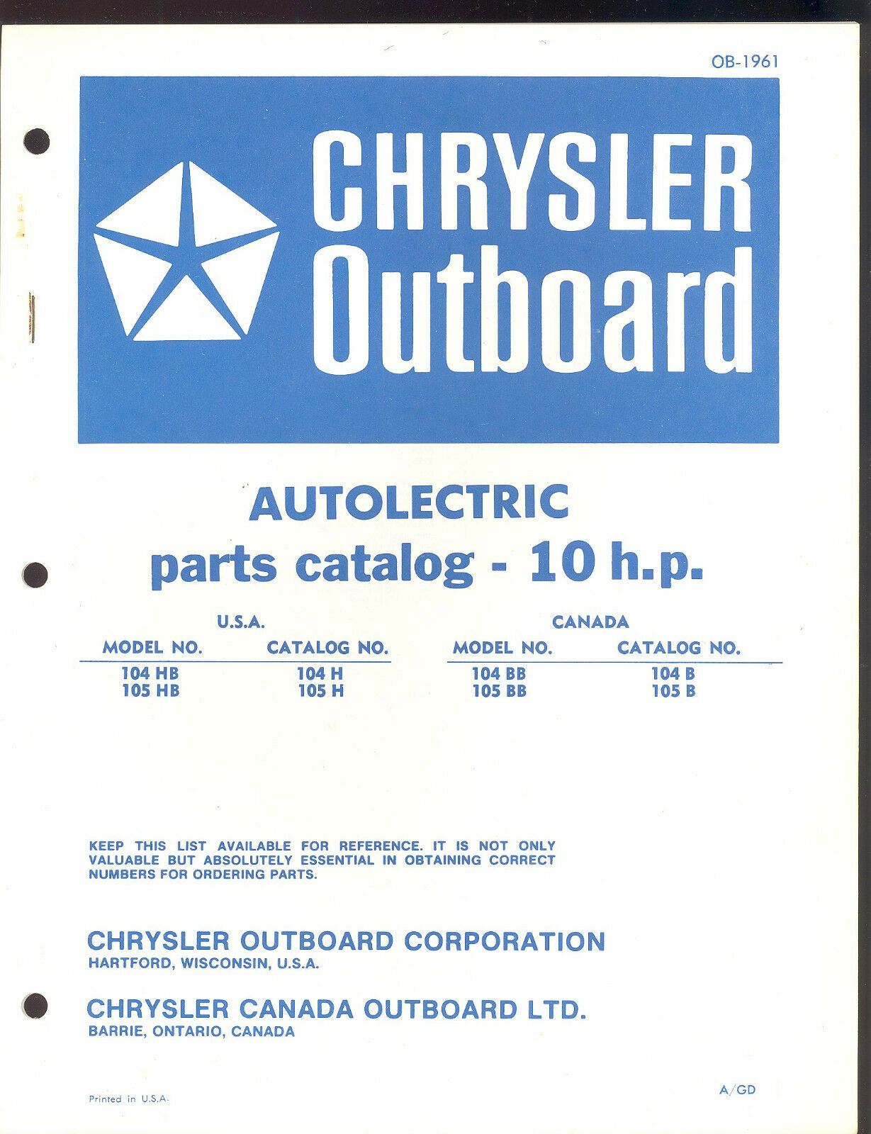 Chrysler 10 Hp Autolectric Outboard Motor Parts Manual / Ob 1961 1 of 2Only  1 available ...