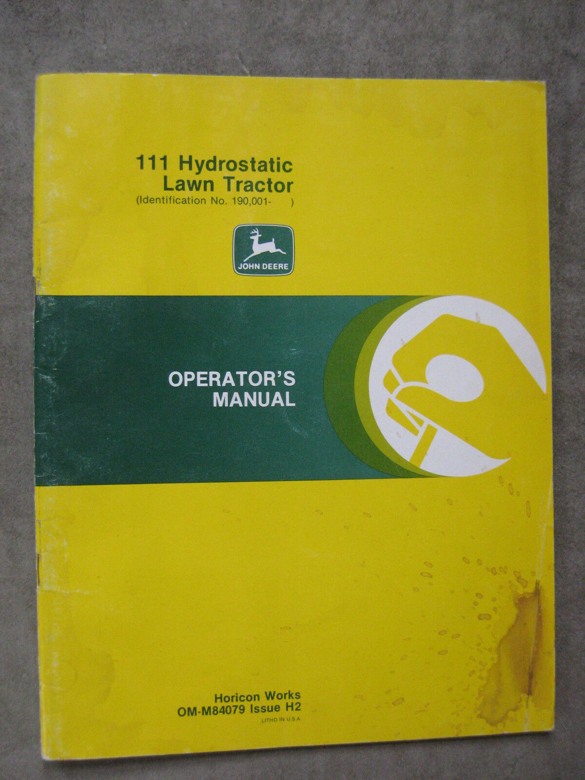 John Deere 111 HydrostaticLawn Tractor Operators manual 190,001 up 1 of  1Only 1 available ...