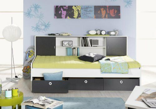 bett einzelliege jugendbett 90x200 cm regal berbau chica. Black Bedroom Furniture Sets. Home Design Ideas