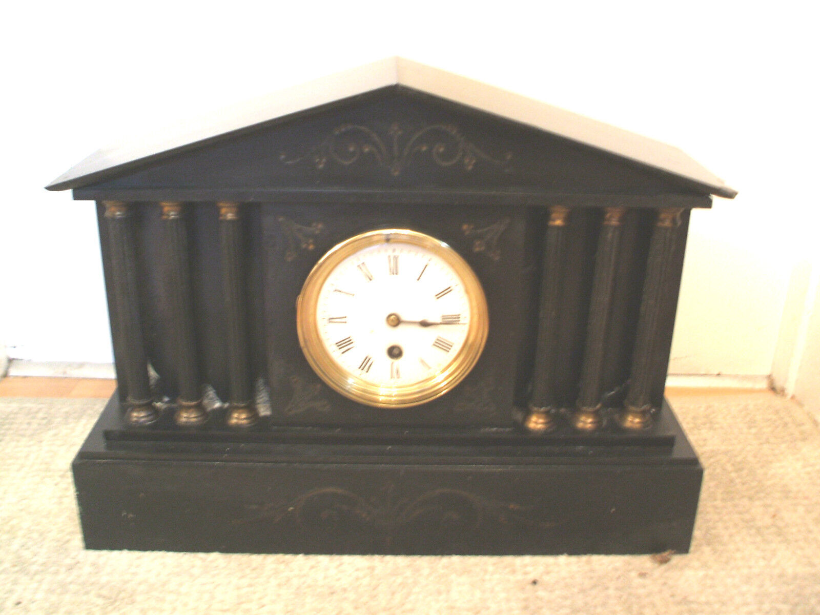 """Victorian French Marble Case With Columns Timepiece Mantle Clock 12""""H 16.5""""W"""