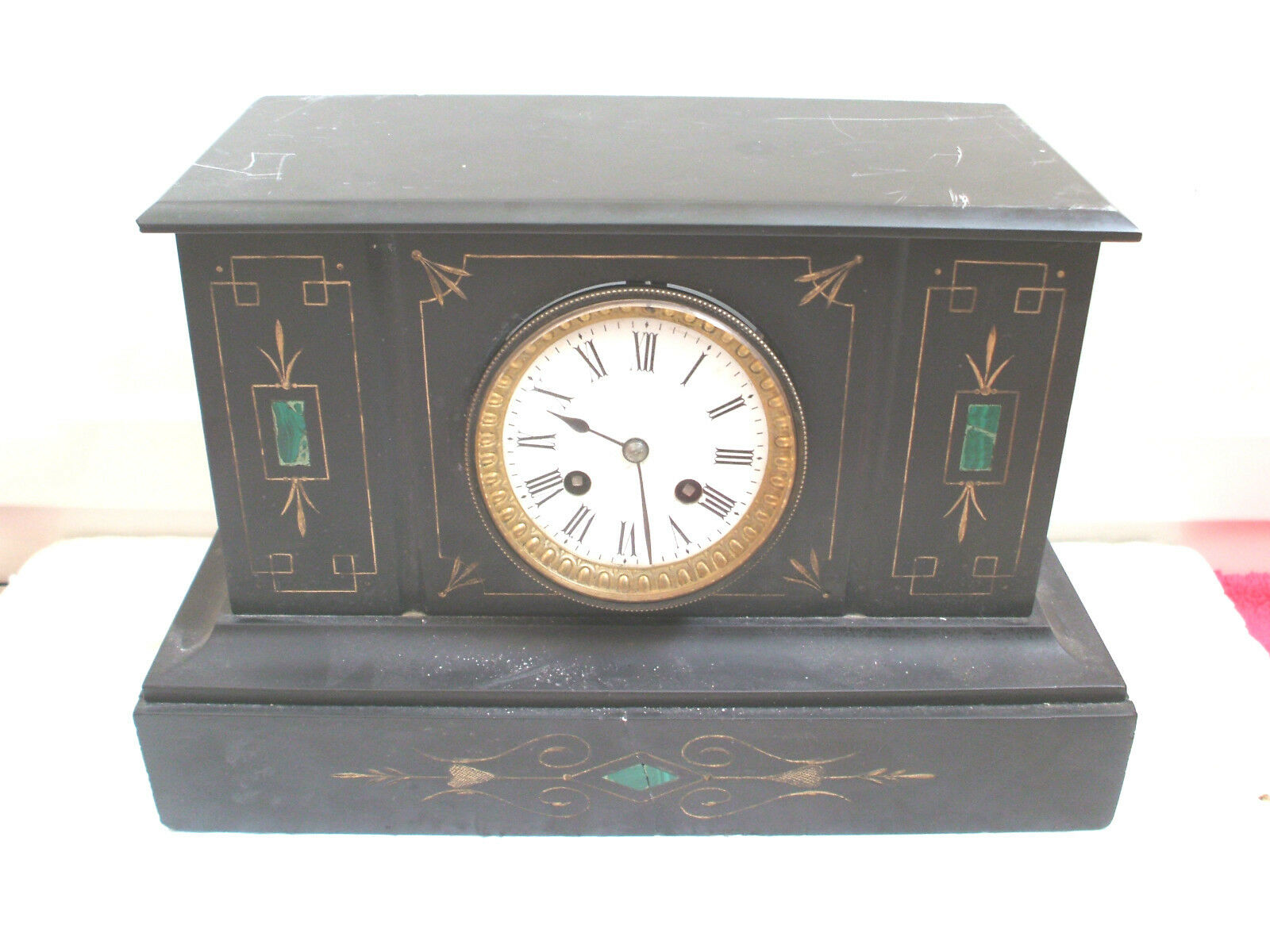 """Japy Freres Victorian French Marble Case Striking Mantle Clock 9""""H 14""""W 6.5""""D"""