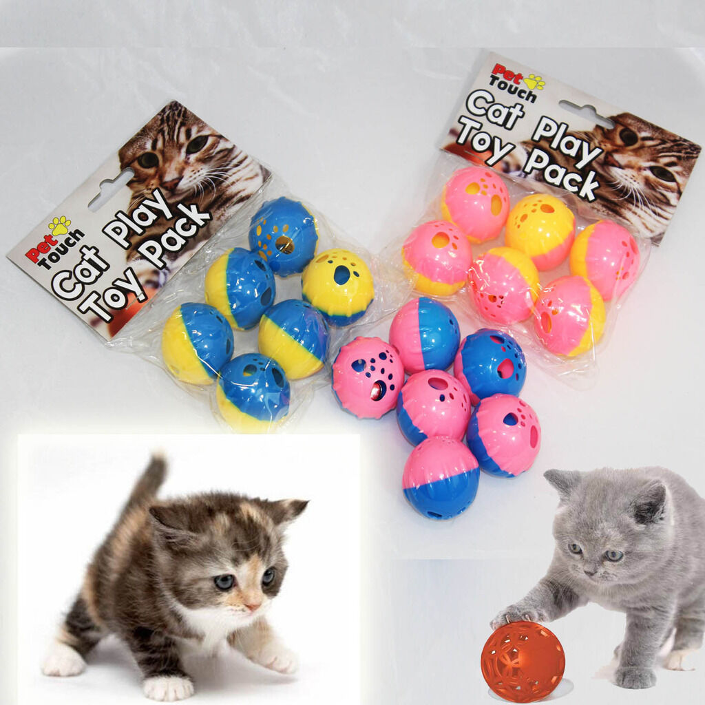 Cat Kitten Soft Bell Play Balls Set 6 Small Coloured Activity Pet Mouse Mice Toy