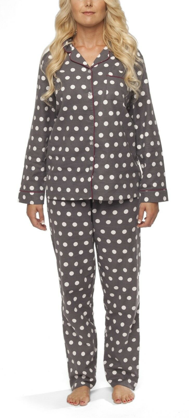 damen flanell schlafanzug pyjama nachtw sche baumwolle. Black Bedroom Furniture Sets. Home Design Ideas